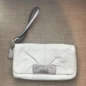 Coach white and silver wristlet